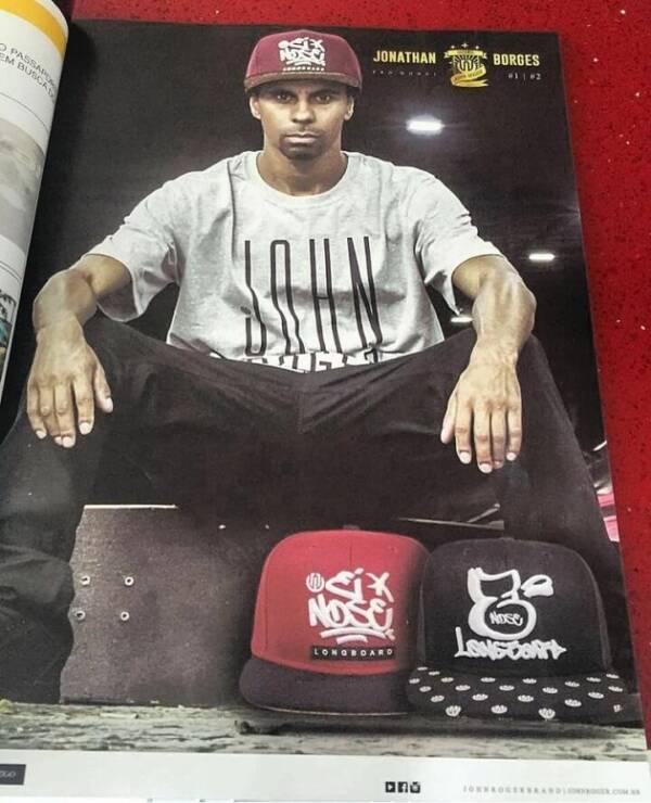 jonathan borges no anúncio da revista tribo skate